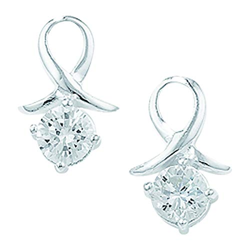 Aeon Bow Stud Earring Set with White Cubic Zirconia - Hypoallergenic Earrings - 925 Sterling Silver Cubic Zirconia Crystal Charm Earring Drops for Women and Girls - 8mm * 8mm