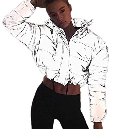 Eghunooye Frauen Sommer Casual Sport Bekleidung Reflektierende 2 Stück Sportjacke Reißverschluss Langarm Crop Top Jacke Mantel und Sport Bodycon Rock Hosen (Jacke B, S)