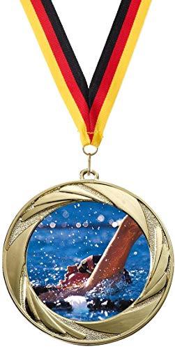 Verlag Reiner Kullack 10er-Set Medaillen »Schwimmen«, mit 50 mm Sportfoto-Emblem (Metall, bunt)