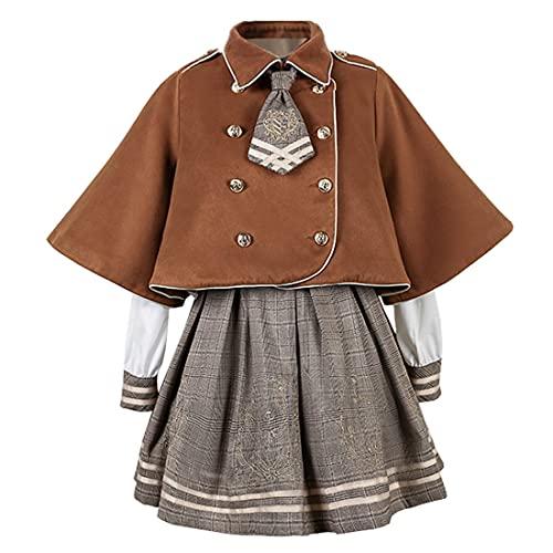 KUFEIUP Teen Girls College School Uniform Plaid Skirt Lapel Cape Coat Suit Set (Coffee, Large)