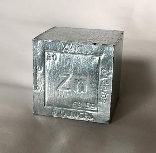Cubo de Zinc (Zn) de 8 onzas (aprox. 230 gramos) y datos grabados con laser del elemento químico. Perfecto para coleccionismo, pisapapeles, regalo, decoración…