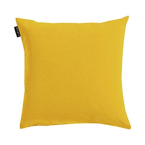 Linum Annabell Elegant Kissenhülle für Dekokissen 50cm x 50cm, 100% Baumwolle, Maschinenwaschbar, Senfgelb