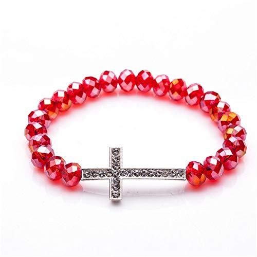 lonfenner Kristall Armreif,Crystal Frauen Armband, Rot Charme Bunte Naturstein Kristall Kreuz Armband, Damen Armband, Liebhaber Geschenk