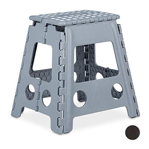 Relaxdays Klapphocker XL, tragbar, großer Badhocker, Faltbarer Sitzhocker, bis 120kg, Kunststoff, 39,5 cm hoch, hellgrau
