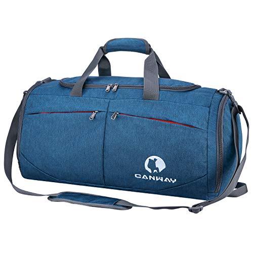 CANWAY Faltbare Sporttasche Faltbare Reisetasche mit dem schmutzigen Fach und Schuhfach Leichtgewicht für Männer und Frauen (Blau)