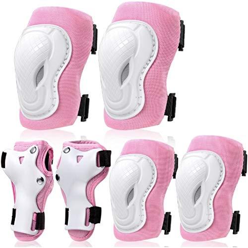COOLGO Inliner Schoner Set Größe-S für Kinder 15~30 KGS, 6 IN 1 Protektoren Set Schutzausrüstung Verstellbar Knieschoner Ellenbogenschoner Handgelenkschoner für Inliner Skaten Roller Skateboard Pink