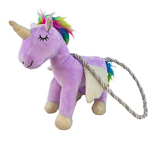 NLRHH Plush Unicorn Purse Women Stuffed Crossbody Bag Cartoon Fluffy Animal Shoulder Bag Cuddly Plush Shoulder Bag Change Purse Sweet Gift Bag for Cdren Purple peng