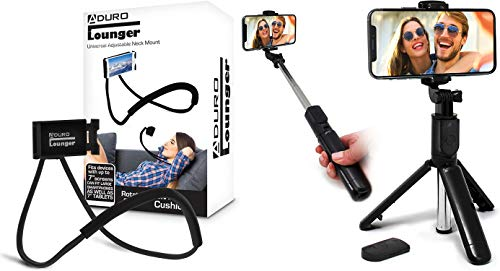 Aduro Phone Neck Holder, Gooseneck Lazy Neck Phone Mount, (Black) Bundle with U-Stream Selfie Stick Tripod Extendable with Bluetooth Remote, All for iPhone/Android Smartphone