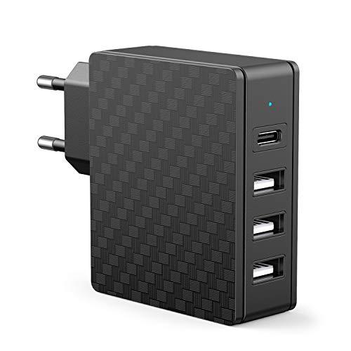 SCHITEC Cargador USB,4 Puertos 5V / 3A Cargador de Pared USB Tipo C 18W PD Adaptador de Corriente para Enchufe USB de Viaje en el hogar Compatible para iPhone 12/11/ X/XS/XS MAX/XR, Android y más