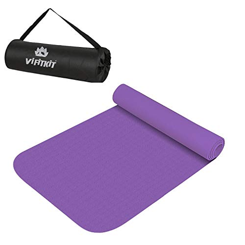 VIFITKIT Yoga Mat with Free Yoga mat Bag Anti Skid Yoga mat for Gym Workout and Flooring Exercise Long Size Yoga Mat for Men Women, Purple 6mm