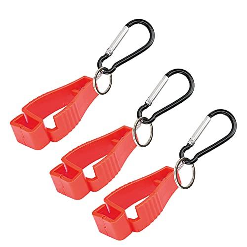 3 Stück handschuh Clip,Für mit Karabiner Haken Und Feuerwehr Handschuh Grabber Arbeits handschuh Halter-Klammer (Rot)