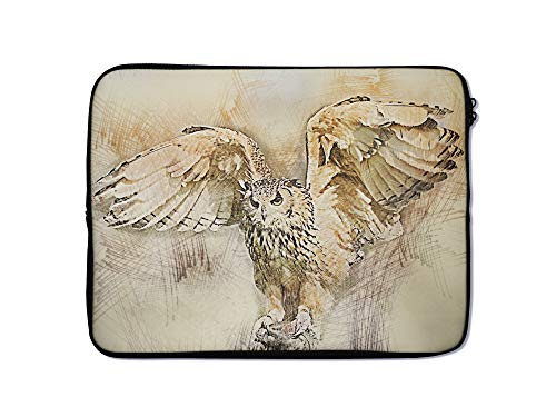 Animal Laptop Sleeve Case 9 10 11 12 13 14 15 15.6 Inch Tablet Computer Protective Zipper Bag Slide Through Pouch - for MacBook Air Pro Dell Lenovo Hp LG Asus Acer Chromebook (9-10 Inch, Owl Art)