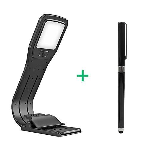 Lámpara de Lectura Libro Luz USB Regulable Recargable para Lectura Nocturna with 2 in 1 Lapiz Táctil Capacitivo Ajustable 4 Niveles Clip Magnético Fexible 360 Grados