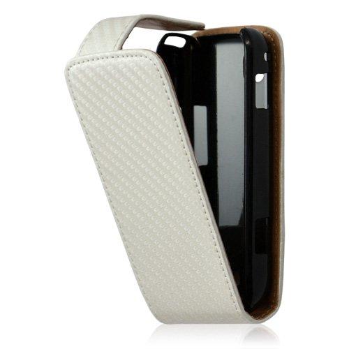 Housse coque etui gaufré pour Samsung Galaxy Spica i5700 couleur blanc nacre + Film protecteur