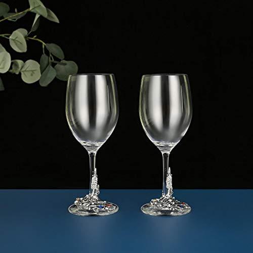 AYES Vaso de vino pintado a mano, para cumpleaños, mujeres, madres, amigos, Navidad, día de la madre (350 ml) (plata antigua 2 lite)