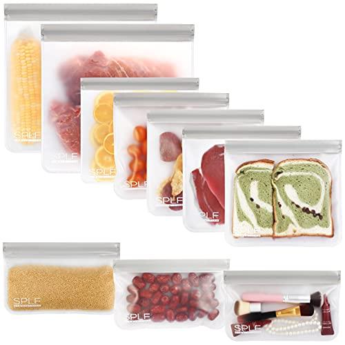 SPLF 10 Pack BPA FREE Reusable Storage Bags (5 Reusable Sandwich Bags, 3 Reusable Snack Bags, 2...