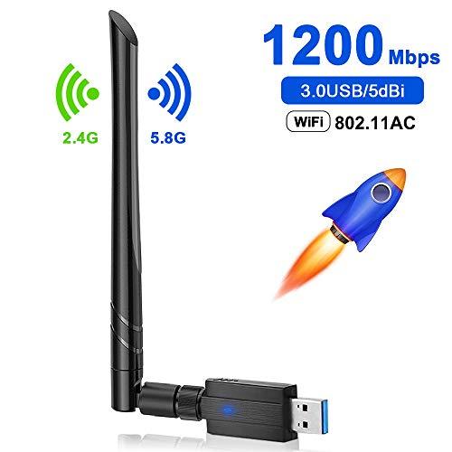 yotame WiFi Antena, Adaptador WiFi USB 1200mbps USB 3.0 5dBi Dual Band Receptor WiFi 5.8Ghz/2.4Ghz Inalámbrico WiFi USB Dongle para PC Desktop/Laptop/Win/Vister/Linux/Mac
