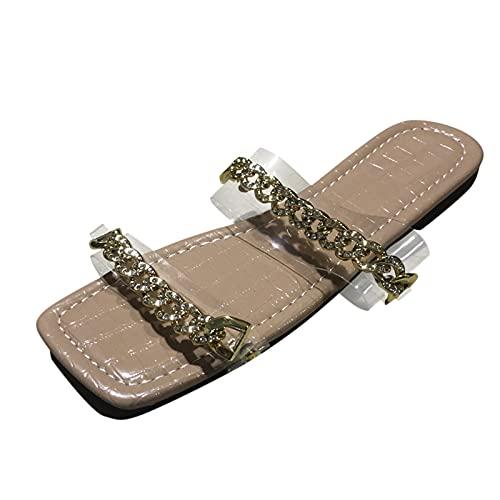 Sandali da donna estivi casual, piatti, con tacco piatto, elegante e alla moda, comodi e grandi, con testa piatta e quadrata
