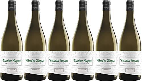 Cuatro Rayas Vino Blanco Verdejo Viñedos Centenarios - 6 botellas de 750 ml - (Total 4.5 L) BODEGA CUATRO RAYAS