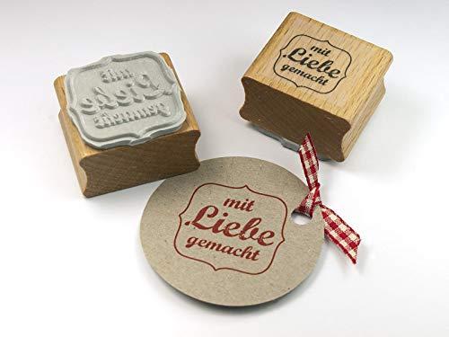 Stempel mit Liebe gemacht für DIY, Selbstgemachtes, Papeterie, Etiketten, Stoff