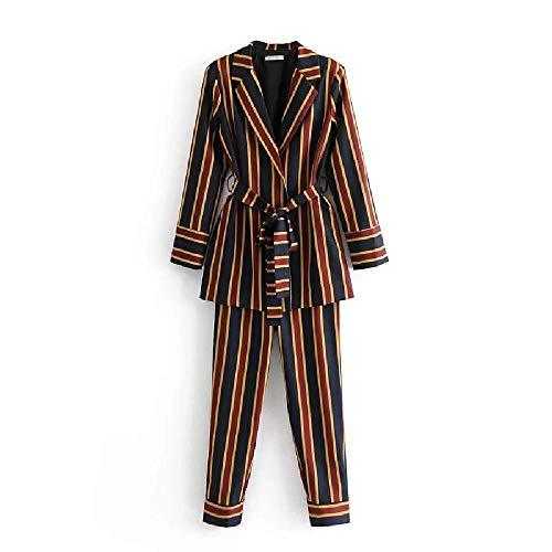 Damen Set Hosen Set Frühling und Herbst Neu Damen Wild Streifen Anzug Jacke Casual Hose Zweiteilig Gr. Large, 3