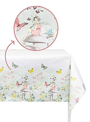Talking Tables- Cubierta de mesa de papel de hadas | vajilla reciclable, rectangular, desechable | Para fiesta infantil de mariposas, cumpleaños, día de la madre, Color, 180 x 120cm (TSFAIRY-TCOVER)