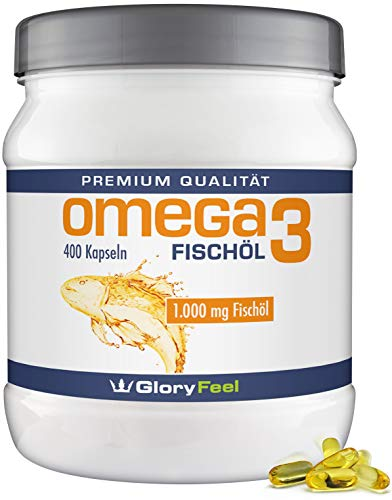 GloryFeel Omega 3 Fischöl-Kapseln 1000mg - Der VERGLEICHSSIEGER 2019* - 400 Stück Hochdosiert -...