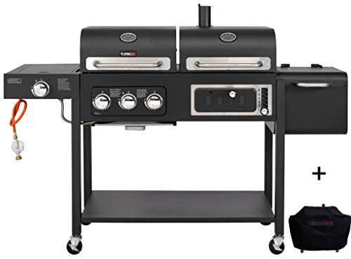CosmoGrill Barbecue DUO Gas Grill + Charcoal Smoker Portable BBQ (Black With Cover)