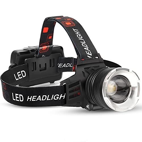 LED Rechargeable Headlamp, 90000 Lumens Super Bright with 5 Modes and IPX6 Level Waterproof USB Rechargeable Headlamp, 90° Adjustable, Suitable for Outdoor Camping, Running, Cycling,Climbing, Etc