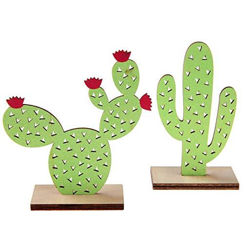 WOOOOZY Tischdeko Kaktus aus Holz, 6x3x10 cm, Sortiert
