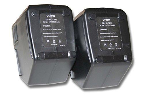 vhbw 2x Ni-MH Akku 3000mAh (12V) für Werkzeuge Hilti SB12 wie Hilti SBP10, SBP12, SFB125, SFB105, 00315082.