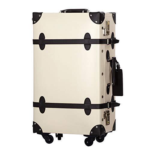 TANOBI トランクケース スーツケース キャリーバッグ SSサイズ機内持ち込み可 復古主義 おしゃれ 可愛い 13色4サイズ (ベージュ×ブラック, Mサイズ(3−5泊))