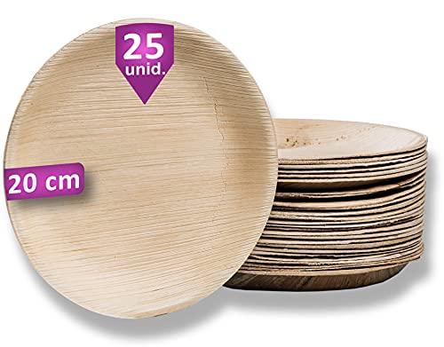 Waipur Platos Hoja de Palma Orgánicos – 25 Platos Desechables Redondos Ø 20 cm - Vajilla Ecológica de Lujo, Estable, Natural y Biodegradable - Platos de Fiesta – Platos de Madera