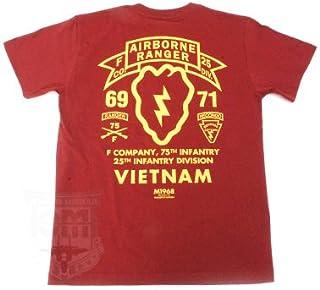 第75歩兵連隊(レンジャー)F中隊/第25歩兵師団所属/ベトナム戦争 ミリタリーTシャツ TP-371 (M, バーガンディー)