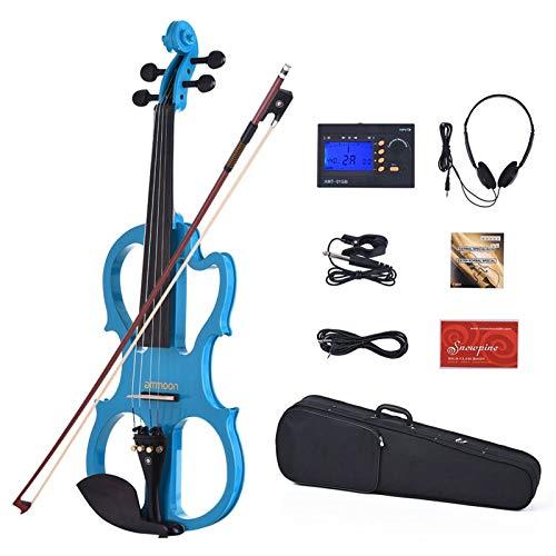 HUIJUNWENTI Tamaño Completo 4/4 Madera Maciza Silent Violín eléctrico violín Fidle Cuerpo...