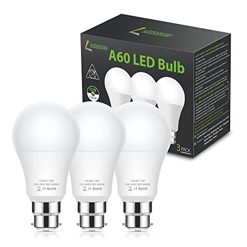 LOHAS 12W B22 LED Light Bulbs, B22 Bayonet Light Bulb Cool White 6000K, 1100Lm, Equivalent to 100W Incandescent Bulb, Non-Dimmable, 230V, A60 Energy Saving Bulbs with Super Brightness, Pack of 3