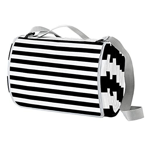 Manta de picnic portátil de 57 x 59 pulgadas, impermeable, para playa, viajes, camping, césped, música, festival de rayas blancas y negras