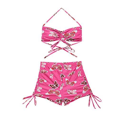 Lencería Traje de Baño de Dos Piezas Dividido de Banda de Bikini con Estampado de Mariposa de Moda Sexy para Mujer
