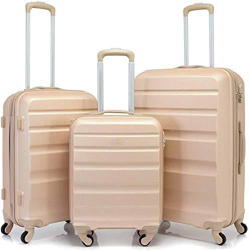Trolley de diseño ligero 3 set de maletas rígidas con cuatro ruedas,Gold