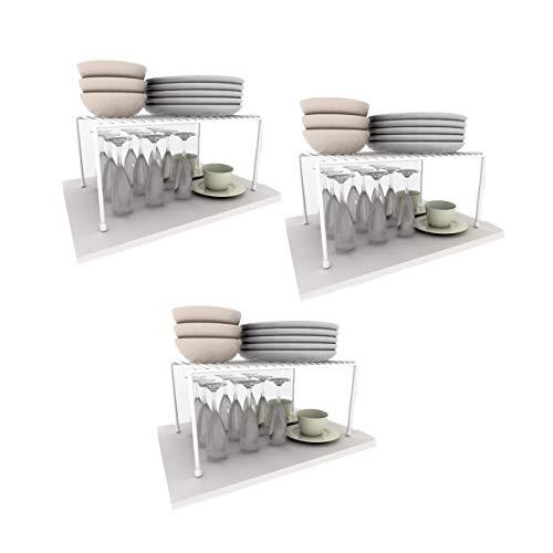 Kit com 3 Prateleiras Organizador de Cozinha Grande 42cm Aço DiCarlo Branco