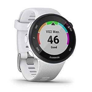 Garmin Forerunner 45S (White, Small) Running GPS Watch Power Bundle   +HD Screen Protectors & PlayBetter Portable Charger   Garmin Coach, Lightweight, Heart Rate, Body Battery, Smart Notifications