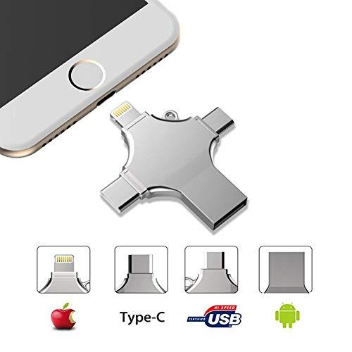 Externer Speicher für iPhone, USB Stick 64GB, 4 in 1 USB Memory Stick- USB Flash Drive Metall Speicherstick Speichererweiterung für Apple iPhone iPad Android Laptop Notebook USB 2.0 Silber