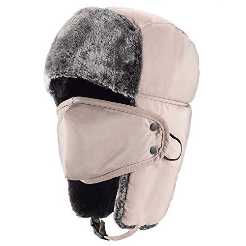 """mysuntown Trapper Hat Winter Hats for Men, Trooper Russian Warm Hat with Ear Flaps, Women Ushanka Bomber Fur Hats 22""""-24"""" Khaki"""