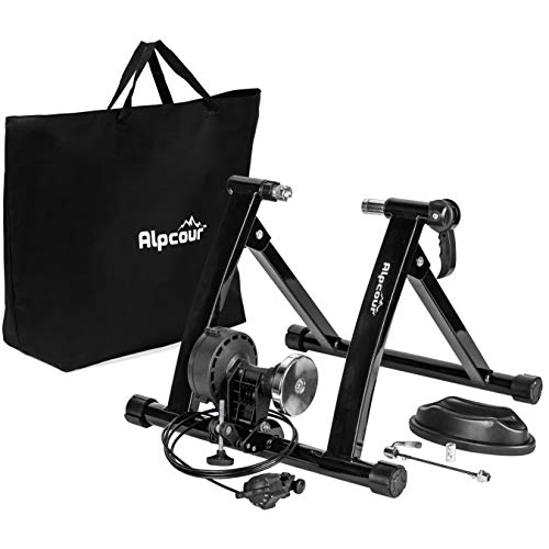 Alpcour Bike Trainer Stand - Portable Stainless Steel Indoor Trainer w/Magnetic Flywheel, Noise Reduction, 6 Resistance Settings, Quick-Release & Bag - Stationary Exercise for Road & Mountain Bikes