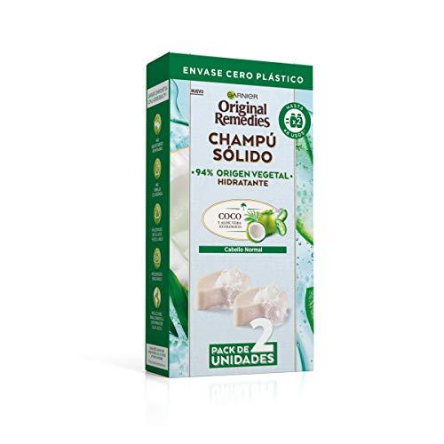 Garnier Original Remedies, Champú Sólido, Coco para Cabello Normal Y Raíces Grasas, Agua de Coco y Aloe Vera Ecológico, Hidrata y Suaviza el Pelo Normal, 94% Origen Vegetal, 48 Usos, Pack de 2, 60 g