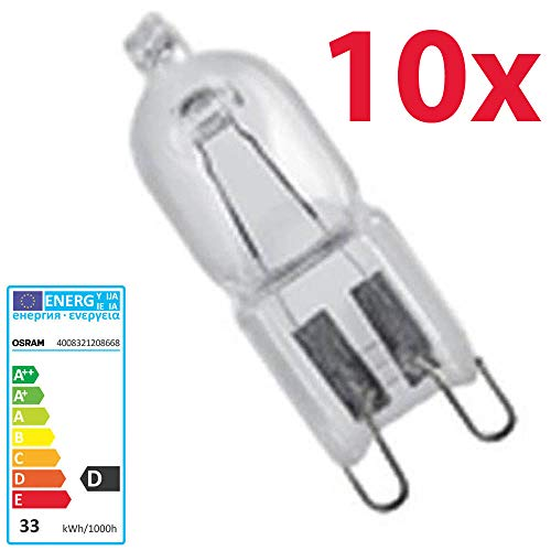 10 x Osram 33 W 240 V G9 Halopin ECO Energiesparlampe Halogen Kapsel lampe