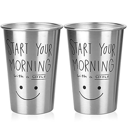 Vihimi - 2 tazze in acciaio INOX di alta qualità, impilabili, bicchieri in metallo infrangibile per bambini e adulti, 500 ml, colore: argento