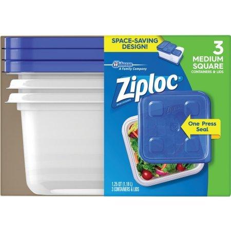 Ziploc Storage Containers Medium Square 3 Pack One Press Seal 1.25Q