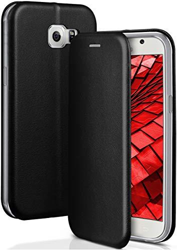 OneFlow® Funda Libro + Cierre magnético Compatible con Samsung Galaxy S6 | Piel sintética, Noir
