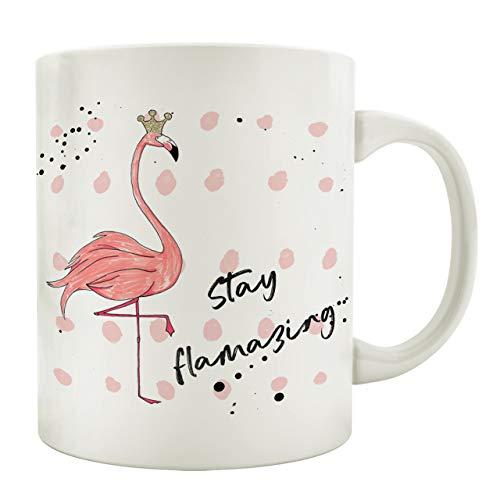 Interluxe Tasse Kaffeebecher Stay FLAMAZING Dankeschön Geschenkidee Spruch Kaffeetasse Krone Flamingo